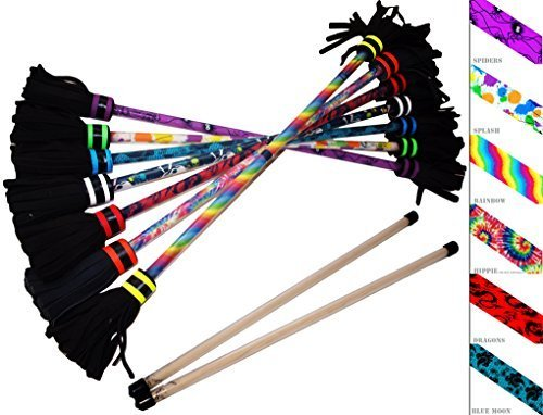 Flower Stick Set - Art-Deco (7 Designs) + Silicone Wooden Hand Sticks! Pro Flower Sticks For Kids & Adults! (Blue Moon) by Flames N Games Flower Sticks by Flames N Games Flower Sticks