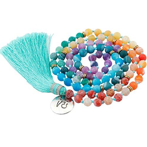 - SUNYIK 7 Chakra Matte Agate Bracelet,Wrapped Stone Necklace,Tibetan Buddhist Prayer Beads,with Tassel