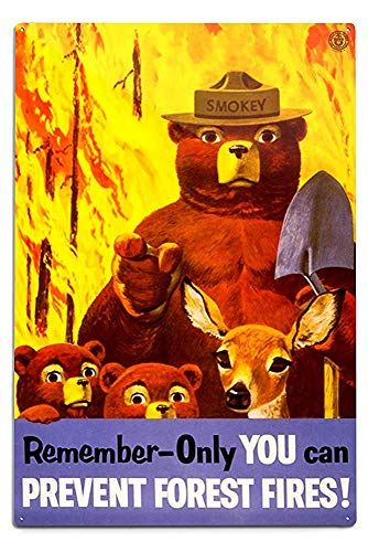 (Lilyanaen New Great Smokey Bear Remember Vintage Poster Aluminum Wall Sign Wall Decor Ready to Hang for Outdoor & Indoor 12 x 18 in )
