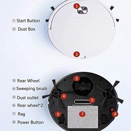 Ttdbd Aspirateur Robot 3-en-1, aspirateur Sec et Humide à Balayage Intelligent Rechargeable Aspiration Forte, Ultra-Mince, Silencieux