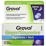 Gravol Ginger Nighttime Tablets for Upset Stomach & Nausea, 16 Tablets with Melatonin
