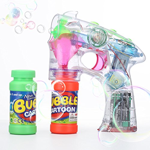 Shinehalo Bubble Gun Shooter Blower Machine with LED Flashing Lights and Sounds, Bubbles Blowing Gun Toys for Kids, Include Batteries and Extra Bubble Bottle Refill