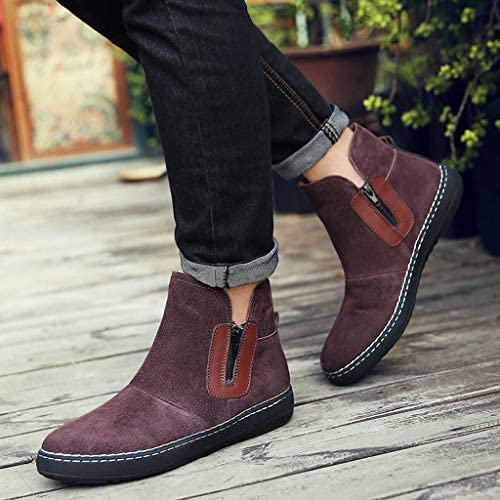VonVonCo Short Boots for Men Winter High-Top Casual Shoes Motorcycle Non-Slip Wear-Resistant Boots