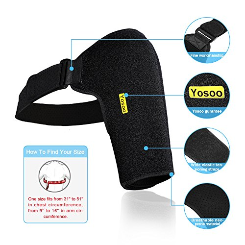Dislocated Shoulder Brace for Left and Right Size Fits Men and Women, Rotator Cuff Support Adjustable with Mesh Bag for Hot Cold Therapy Shoulder Wrap for Tear Injury AC Joint Dislocated Recovery by wohuu (Image #3)
