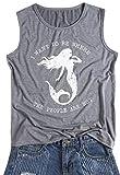 DUTUT Women's Summer Letters Print Sleeveless Casual T-Shirt Mermaid Tank Top Vest Size L (Gray)