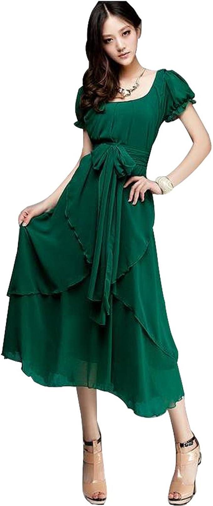 Ältere Frauen Damen Elegante Retro Unregelmäßige Lange Maxi  Grün-Chiffon-Kleid Weit-Rock-Kleid mit Gürtel