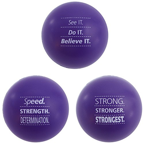 Motivational Stress Balls, 3 Pack, Teacher Peach Stress Relief Toys - Purple (10 Colors Available)