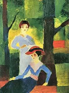 Two girls in the forest by August Macke peel & stick decal, 14.74 X 19.95