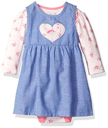 Rene Rofe Baby Baby Girls' 2 Piece Chambray Dress Set with Lap Shoulder Longsleeve Bodysuit, Pretty Pink Flowers, 3-6 Months
