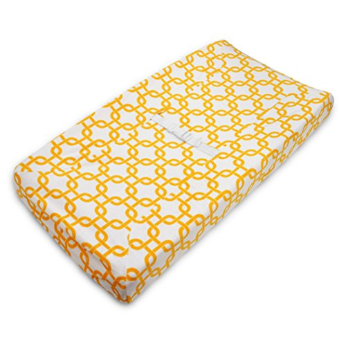 American Baby Company Heavenly Soft Chenille Fitted Contoured Changing Pad Cover, Yellow Gotcha