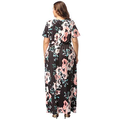 Bolsillo Fiesta de Estampada Manga Vestido Talla Mujer Ropa Verano Moda Elegante Negro para Floral Largo Moda Top Falda Corta Grande Suleto Maxi 3 Floral TwzAXq