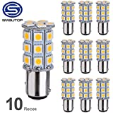 Smautop 10 pcs 1157 BAY15D 27SMD 5050 Car RV Turn Signal Backup Reverse Parking LED Light Bulbs 7528 2057 2357 Warm White 6000K DC 12V - 1 Year Warranty