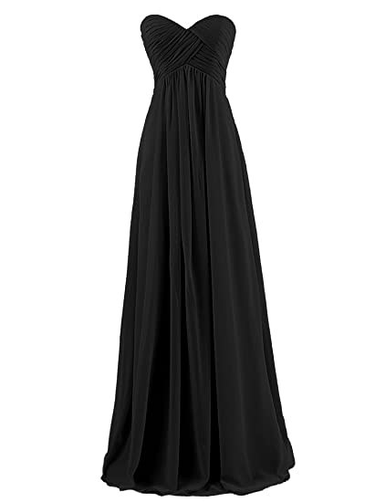 HUINI Sweetheart Long Prom Evening Dresses Wedding Bridesmaid Party Gowns Black UK6