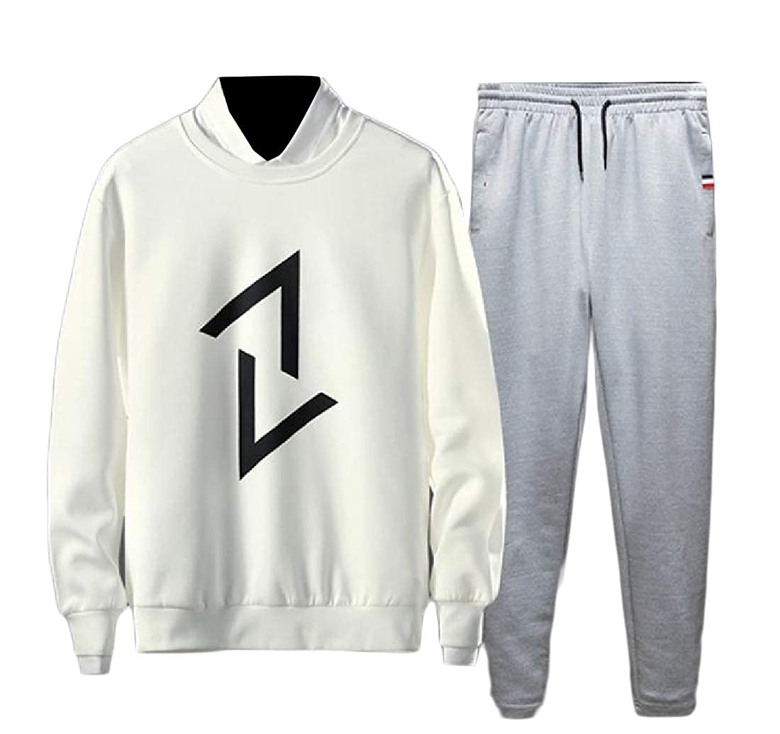 Tootless-Men Casual Loose Athletic-Fit Juniors Pullover 2-Piece Joggers Set