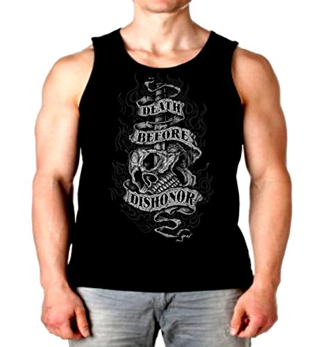Patriotic Tank Top Death Before Dishonor Mens Muscle Shirt S-2XL (Black, M)