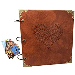 Guwheat Scrapbook Retro Handmade Diy Family Album, Anniversary Adhesive Scrapbookwedding Photo Book With Gift Box & 6 Postcards 3 Photo Corner Stickers