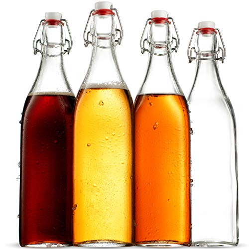 Swing Top Clear Glass SQUARE Bottle With Airtight Stopper - 33.75 oz (4 Pack) Fliptop Grolsch Bottles Great for Oil and Vinegar, Beverages, Kombucha, Homemade Juices, Smoothies, Homebrewing, Beer ETC. ()