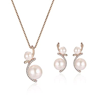 Amazon Teniu Gorgeous Pendant Imitation Pearl Necklace