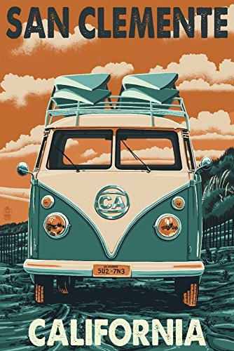 San Clemente, California - VW Van (9x12 Collectible Art Print, Wall Decor Travel - Clemente Ca San