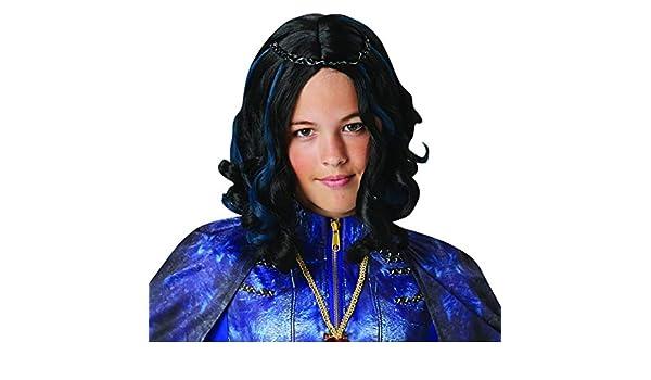 Halloween enia - Accesorios de Disfraz para niños, Peluca de Evie, Carnaval, Carnaval y Noche de Ayuntamiento, Color Negro: Amazon.es: Juguetes y juegos