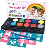 Maydear Face Paint Kit for Kids with Safe and None-Toxic FDA Compliant Water Based 12 Color Palette with 40 Stencils and 2 Brushes