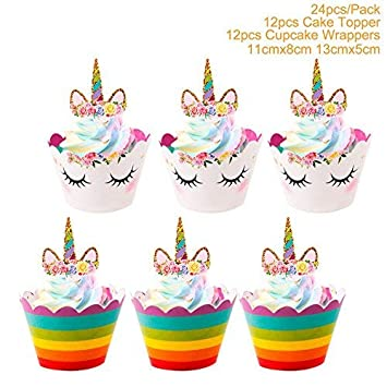 Fun Birthday Cake Decorations Balloons Candles Hats  12 Edible Cupcake Toppers
