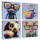 pictures for kids rooms Animal Picture Wall Art Modern Lovely Panda Happy Frog with Glasses Artwork Cartoon Images Oil Painting Print on Canvas for Kids Room Living Room Decoration