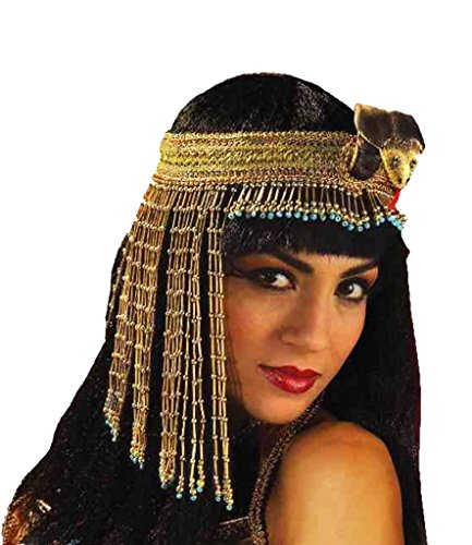 Forum Novelties Women's Egyptian Costume Accessory Asp Snake Beaded Headpiece, Gold, One (Women's Snake Costume)