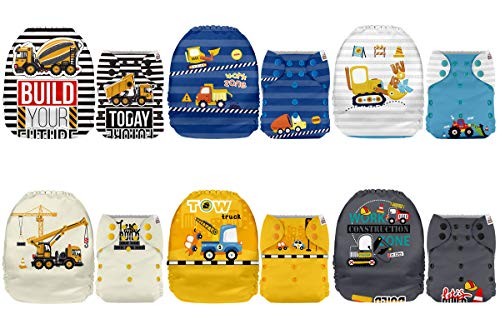 Mama Koala One Size Baby Washable Reusable Pocket Cloth Diapers, 6 Pack with 6 One Size Microfiber Inserts (Construction Vechicles)