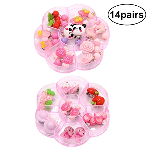 TOYMYTOY 14 Pairs Girls Ear Clips Jewelry Girls Princess Earing Toys Pretend Play Dress Up Accessory
