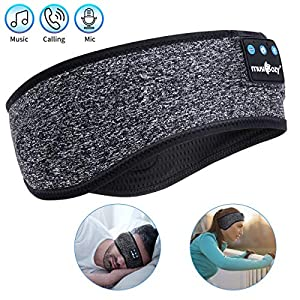 Sleep Headphones,Bluetooth Sport Headband Wireless Music Sleeping Headphones with IPX6 Waterproof Speakers Long Time Play for Travel Office Workout Yoga