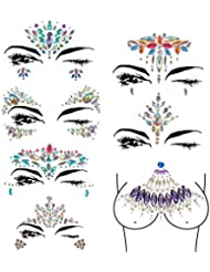 Mermaid Face Gems 7-SET Rave Festival Face Jewels Stick On Crystals Bindi Rainbow Tears Rhinestone Temporary Tattoo Stickers Face Rocks for Forehead Body Decorations