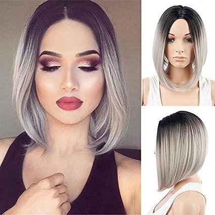 Royalvirgin donna parrucca corta Bob parrucca grigio moda di alta qualità  resistente al calore sintetico ombre nero al grigio capelli parrucche per  le ... 11576a06c24