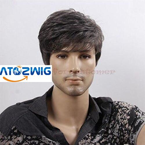 ATOZWIG@Quality Men Short Cool Lolita Black Grey Mix Wig