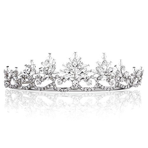 Tiaras and Crowns,Bienna Wedding Pageant Prom Birthday Party Tiara Crown Sparkly Rhinestones Crystal and Metal Decor Bridal Princess Headband Headpiece for Women Girls-Silver Style 4 ()