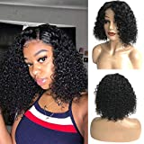 Bestsojoy Hair 13X4 Brazilian Curly Wig Lace Front 150% Density Full Pre Plucked Natural Hairline kinky Curly Short Human Hair Lace Front Wigs for African American Black Women (12 Inch, Natural Color)