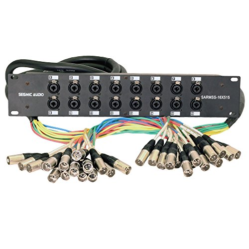 Seismic Audio SARMSS-16x515 Rack Mount 16 Channel XLR TRS Combo Splitter Snake Cable - 5' & 15' XLR trunks by Seismic Audio