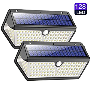 Solar Lights Outdoor, Trswyop【Waterproof Durable Version】128LED Solar Security Lights Motion Sensor with 3 Lighting Modes, 270°Wide Angle, 2200mAh Solar Powered Lights Wall Lights for Outside (2 Pack)