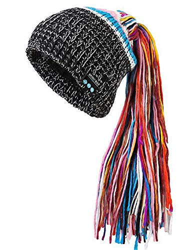 OWIKAR Winter Unisex Bluetooth Beanie Hat Warm Dreadlocks Cap w/Wireless Headphone Headset Earphone Stereo Speaker Mic Hands Free for Outdoor Sport Skiing Snowboard Skating Hiking Camping (Black)