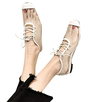 72b945fb6b Amazon.com | Sandals Flats for Women Square Toe Lace Up Cover Heel  Transparent Jelly Shoes | Flats