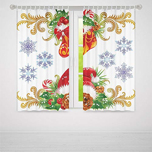 (ALUONI Decor Collection,Christmas Decorations,for Living Room,Classic Decorative Design with Stocking and Santa Hat Mistletoe Snowflakes2 Panel Set,103W X 83L Inches)