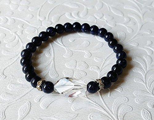 Handmade Navy Goldstone and Clear Swarovsky Crystal Stretch Bracelet