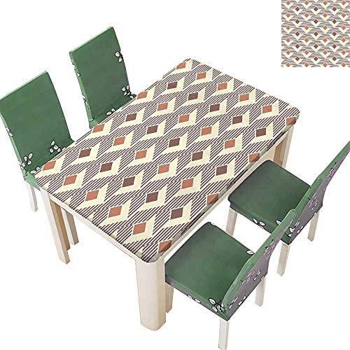 Printsonne Spring & Summer Outdoor Tablecloth, Squar Triangl Striped Background Pattern Redwood Light Yellow Multicolor 50 x 72 Inch (Elastic Edge)