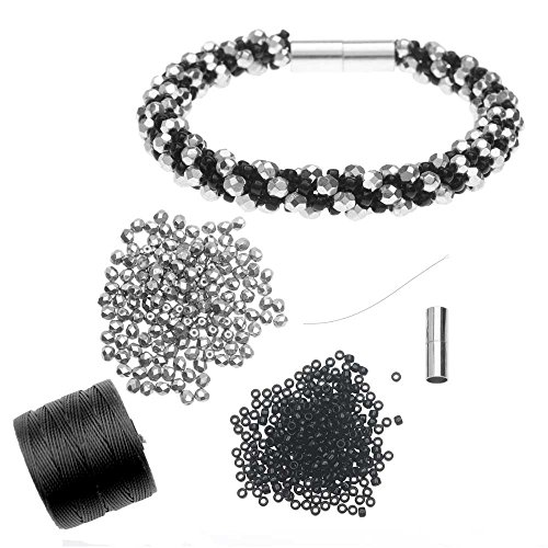 - Beadaholique Refill - Deluxe Spiral Beaded Kumihimo Bracelet - Black and Silver - Exclusive Jewelry Kit