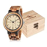 BOBO Bird Mens Wooden Watch Analog Quartz with Week Display Lightweight Handmade Wood Wrist Watch for Men (Brown Dial)