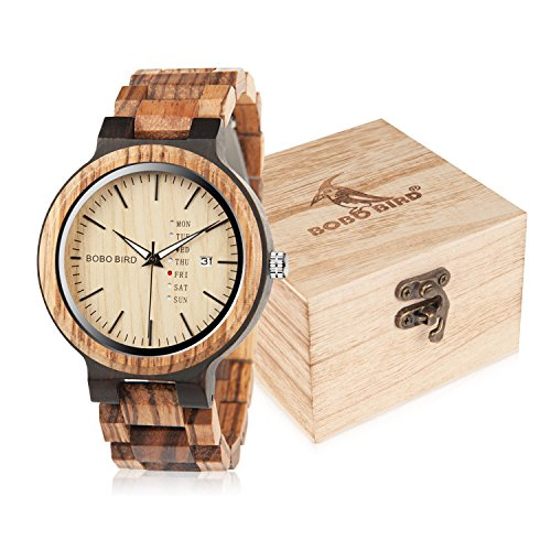 BOBO Bird Mens Wooden Watch Analog Quartz with Week Display Lightweight Handmade Wood Wrist Watch for Men (Brown Dial) by BOBO BIRD