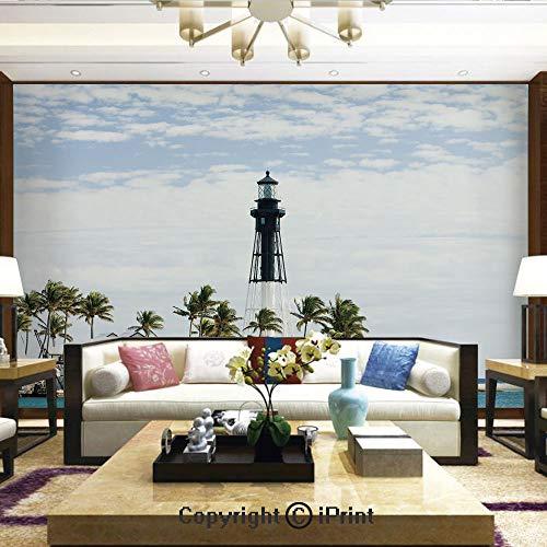 - Lionpapa_mural Artistic Background Removable Wall Mural Self-Adhesive,Hillsboro Lighthouse Pompano Beach Florida Atlantic Ocean Palms Coast Decorative,Home Decor - 66x96 inches