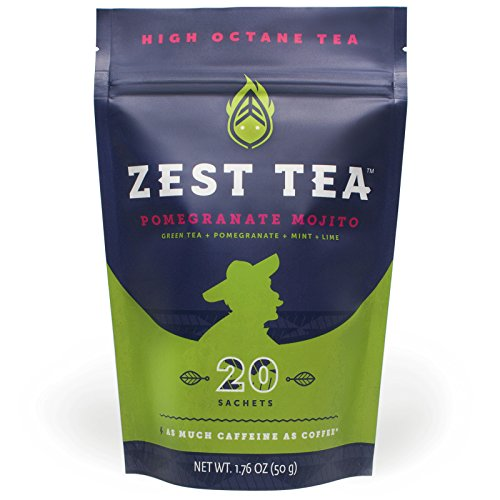 Zest Tea Pomegranate Mojito Energy Tea (2-pack) - Natural and Healthy Coffee Substitute - 140 mg Caffeine Per Cup (40 Sachets)