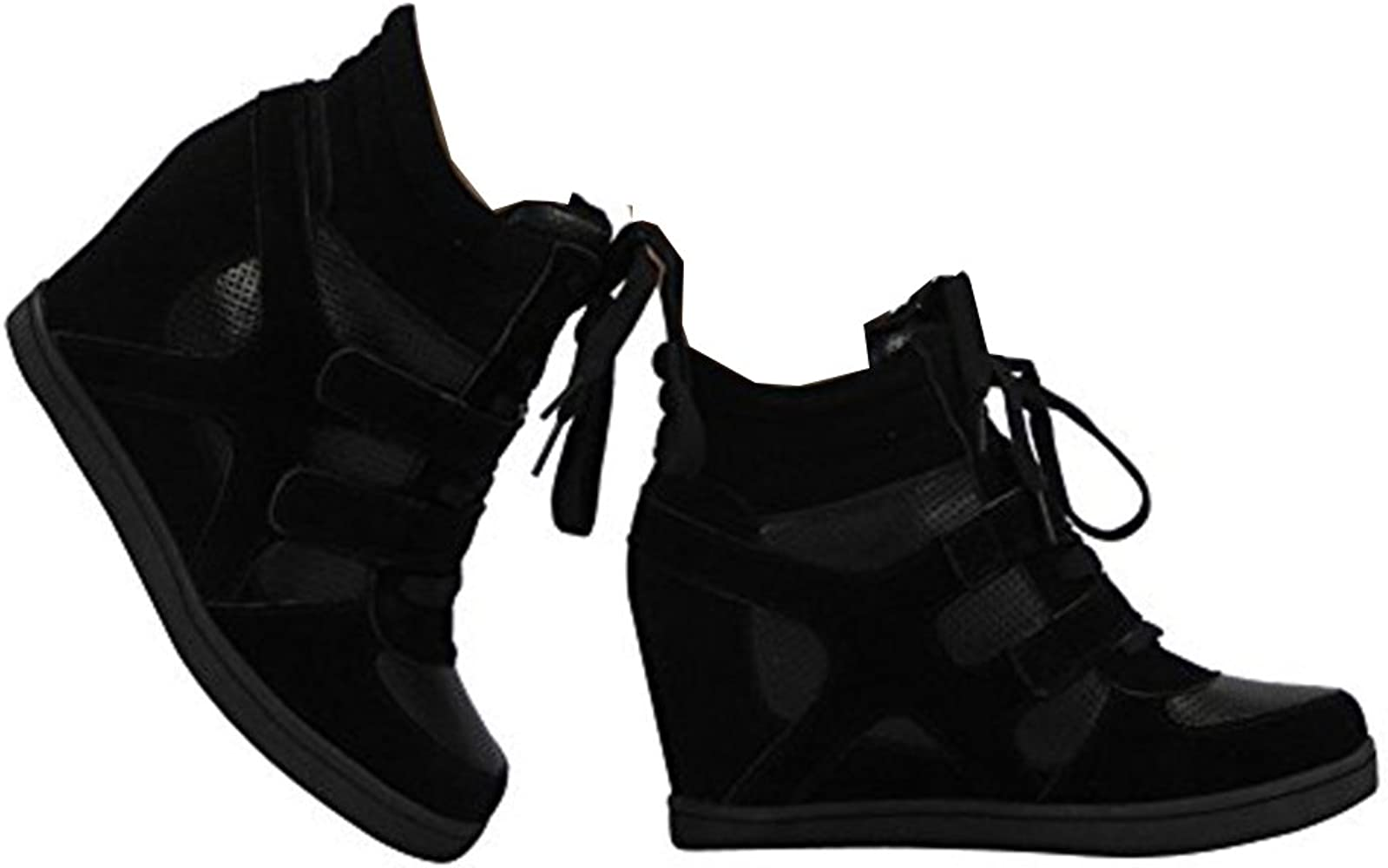 LADIES SNEAKERS FLAT LACE UP HI TOP ANKLE WOMENS CONCEALED WEDGE TRAINERS 3-8