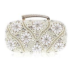 Damara Womens Graceful Beaded Crystal Front Clutch Evening Bag,Gold